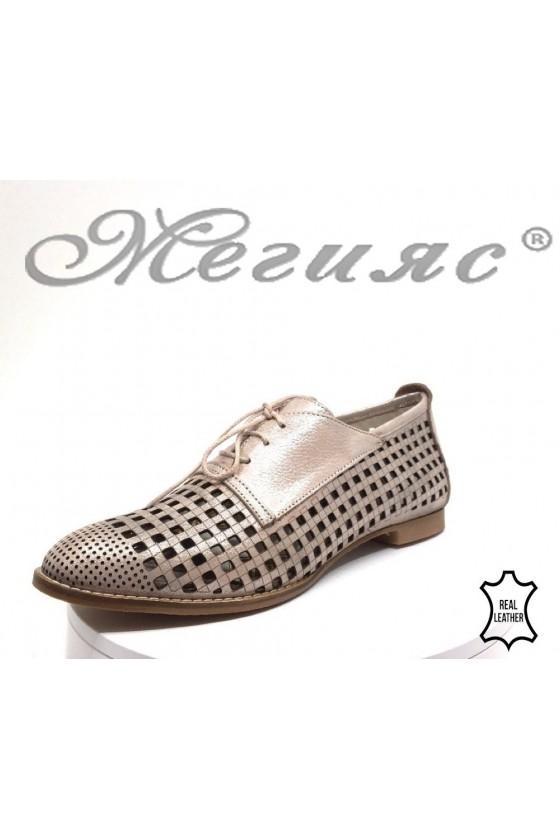 Дамски обувки XXL 648-572 гигант пудра от естествена кожа ежедневни