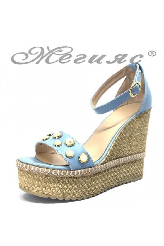 Women platform sandals 874 blue pu