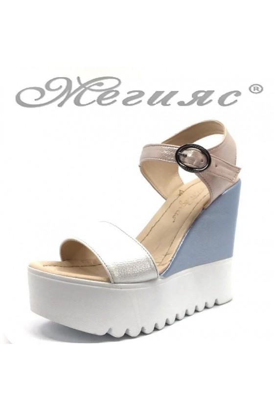 Lady platform shoes 100-259 nude+blue pu