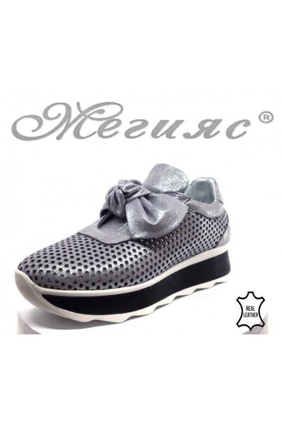 Дамски обувки 46-А-70 светло лилави от естествена кожа с перфорация
