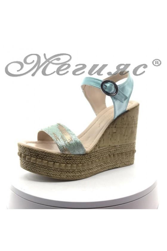 Дамски сандали 100-5426 мента на висока платформа от еко кожа