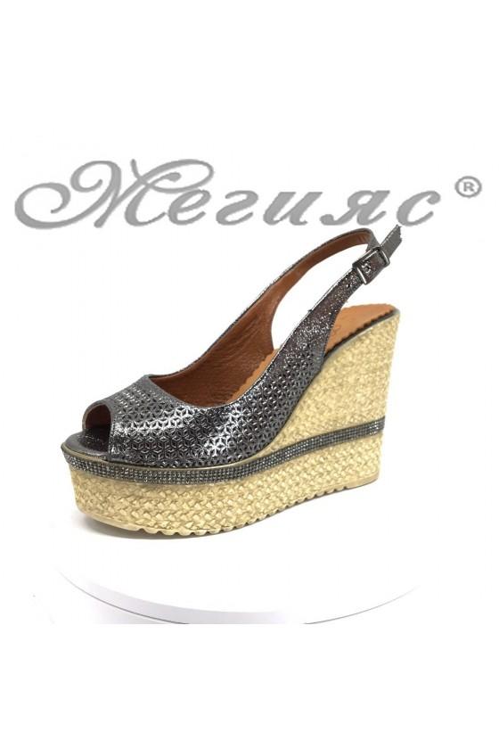 Дамски сандали 23-7 цвят графит от естествена кожа  висока платформа