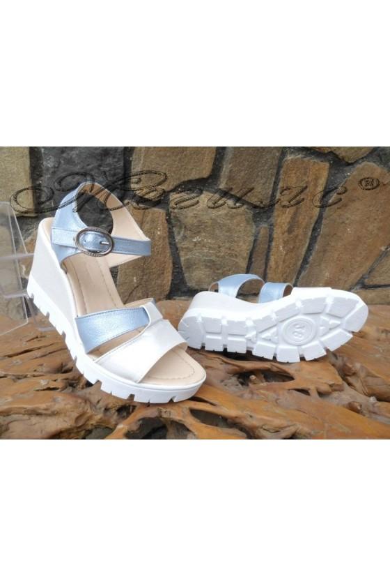 Lady platform sandals 28-2823 white+blue pu