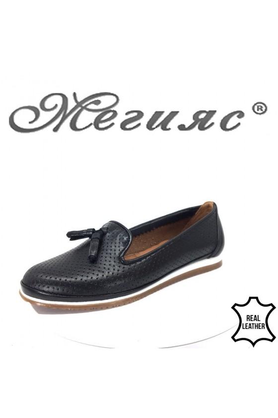 Дамски обувки CAN 0025 черни от естествена кожа тип мокасини