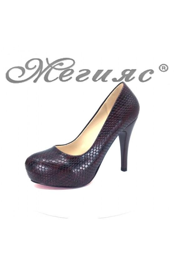 Дамски обувки 83 бордо еко кожа елегантни на висок ток и платформа