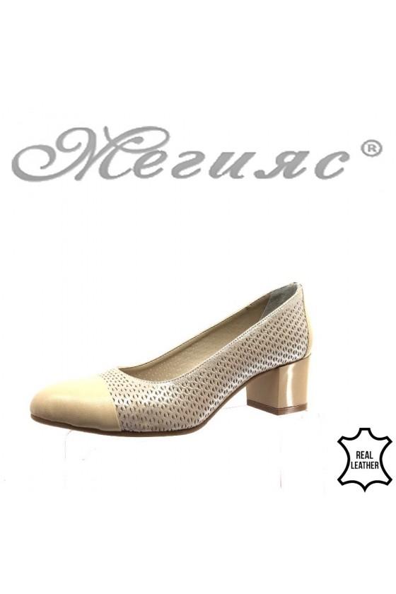 Women eleagnt shoes 334 beige leather