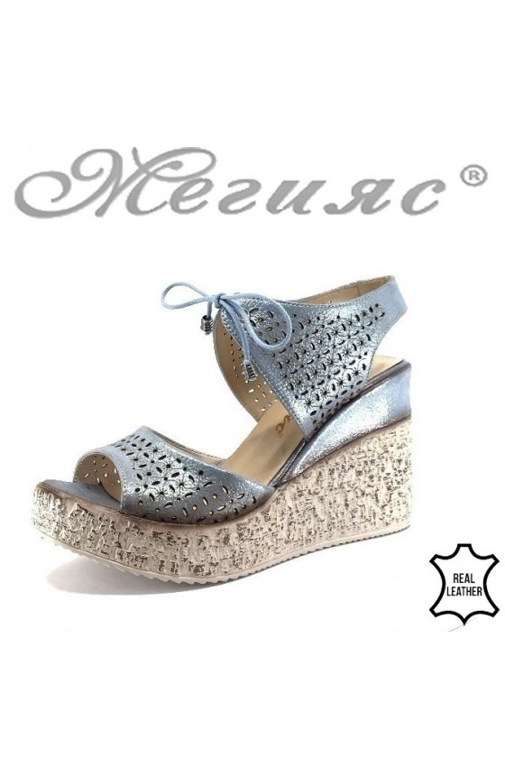 Women platform sandals 715-254 blue leather