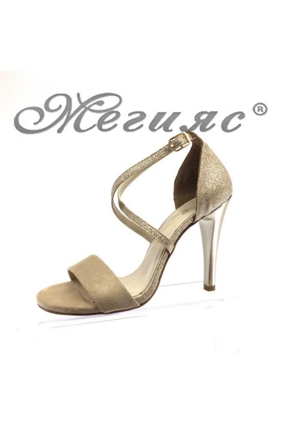 Дамски сандали 107-1 бежови велур с брокат  елегантни на висок ток