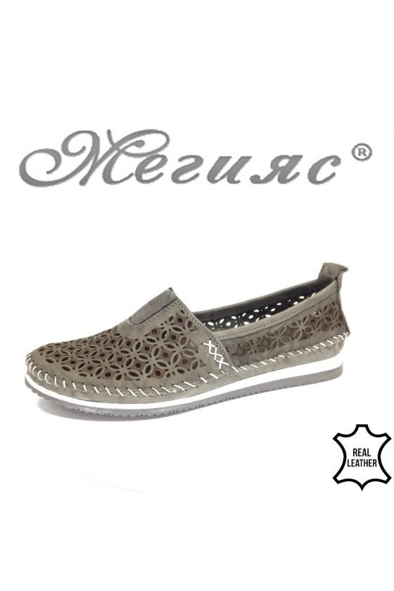 Дамски обувки CAN 67 сиви от естествена кожа тип мокасини