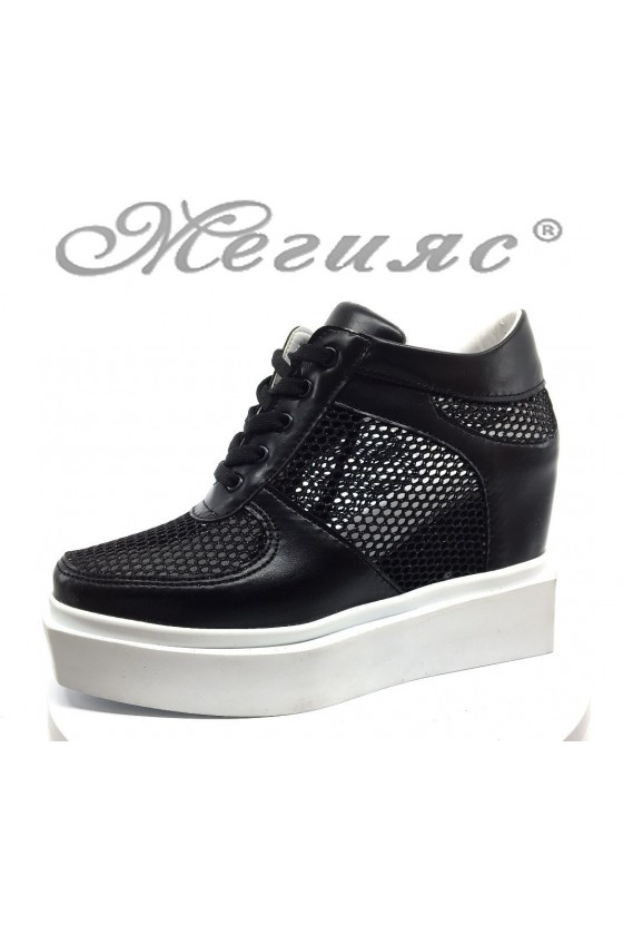 Women platform shoes 7789 black pu