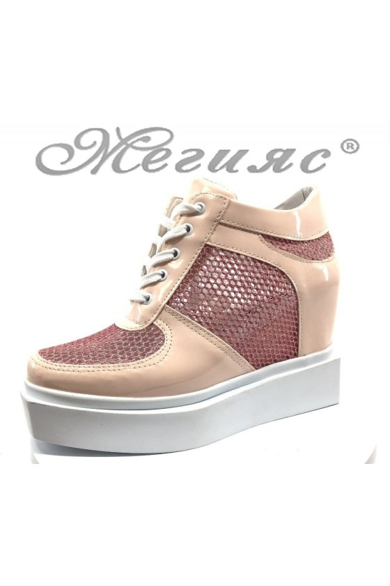 Women platform shoes 7789 nude pu