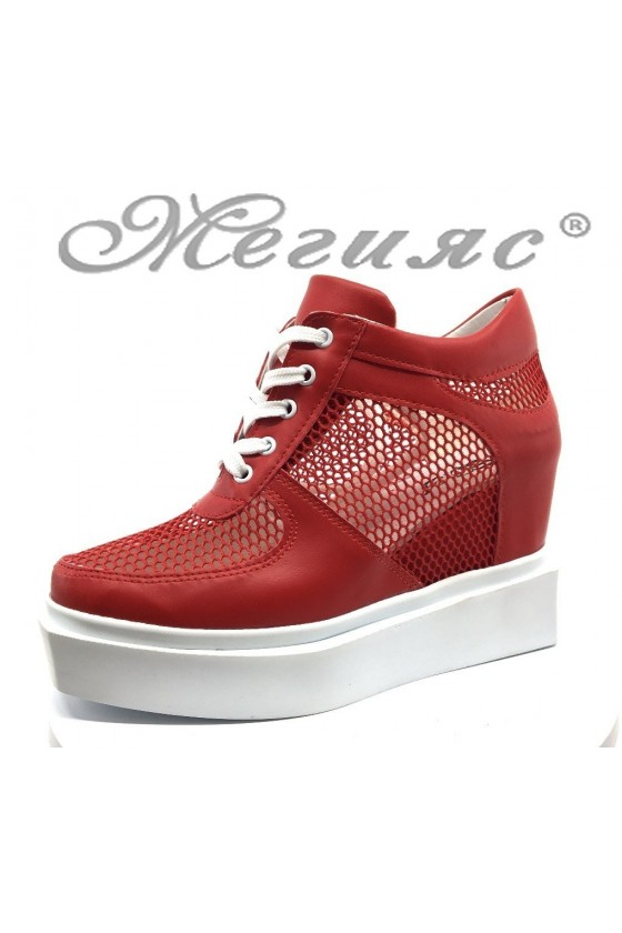 Women platform shoes 7789 red pu