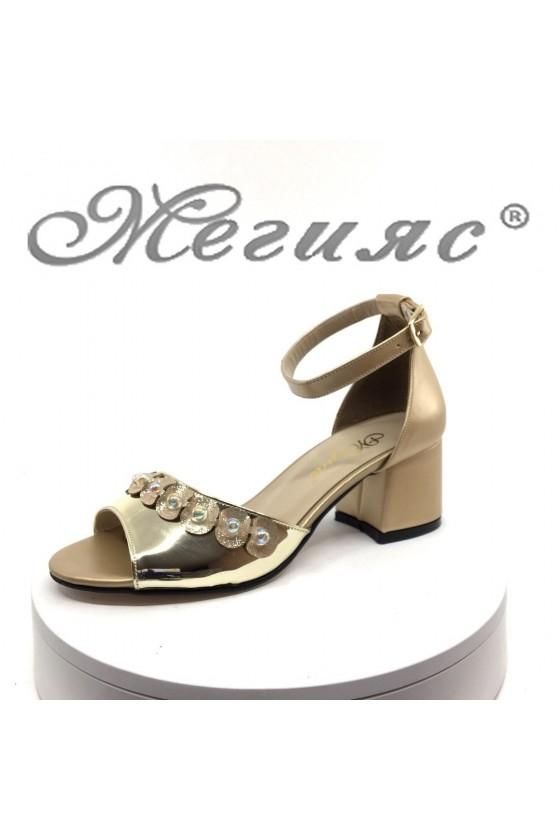Дамски сандали 282 елегантни на среден ток от еко кожа
