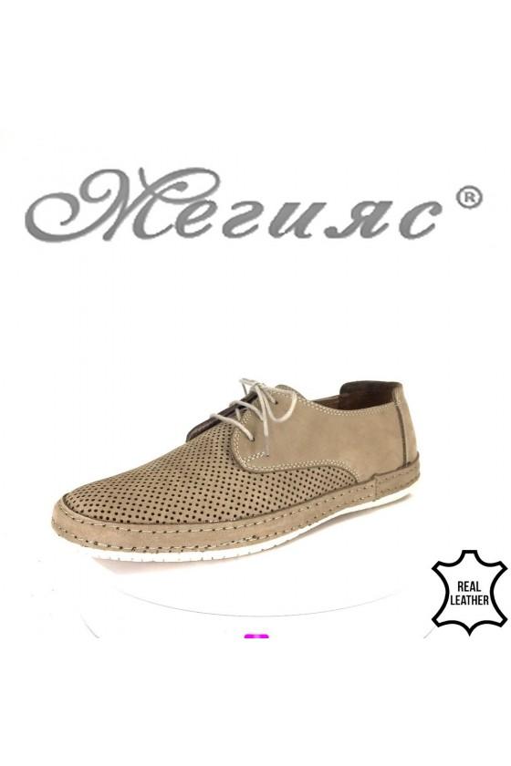 Мъжки обувки 40 бежови от естестве набук с перфорация ежедневни