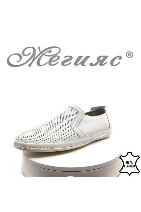 Мъжки обувки 38 бели от естествена кожа с перфорация ежедневни
