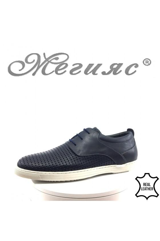 Мъжки обувки XXL 465 сини с перфорация от естествена кожа