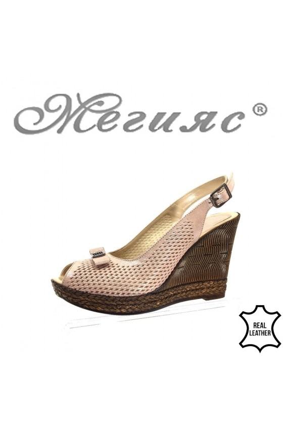 Дамски сандали 529 на платформа от естествена кожа