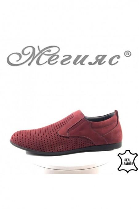 Мъжки обувки XXL 161 гигант бордо с перфорация от естествен набук