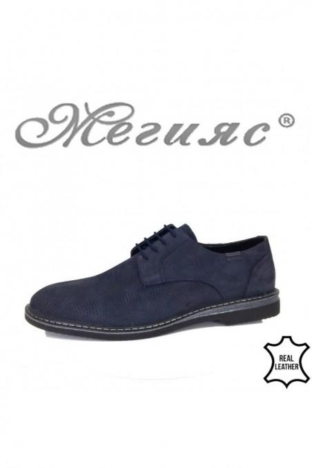 Мъжки обувки Фантазия 12002-03 набук сини с перфорация ежедневни