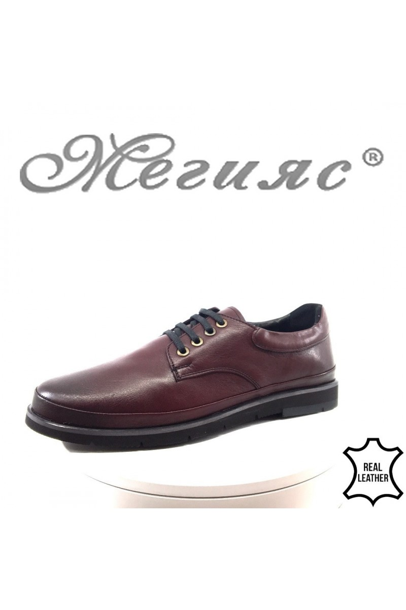 Мъжки обувки Шарп 3003 бордо от естествена кожа ежедневни