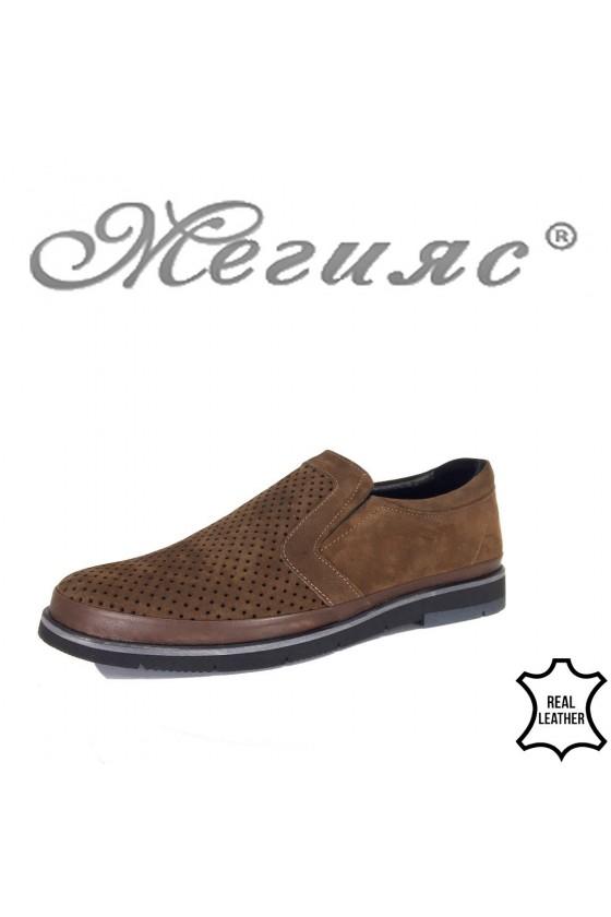 Мъжки обувки Шарп 3004 набук кафяви перфорация от естествена кожа ежедневни