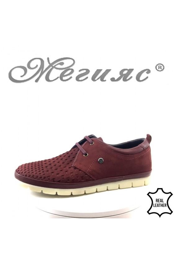 Мъжки обувки XXL 11/2-7079 бордо набук от естествена кожа