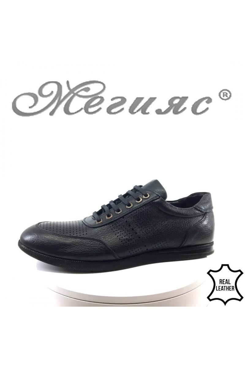 Мъжки обувки Sharp 8409 черни от естествена кожа