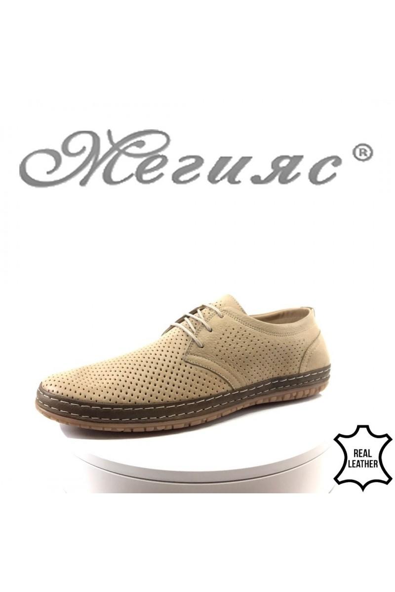 Мъжки обувки 828-03-01 перфорация бежови от естествена кожа
