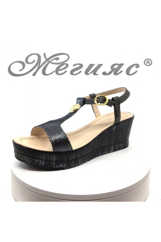 Дамски сандали 22-12589 графит на средна платформа