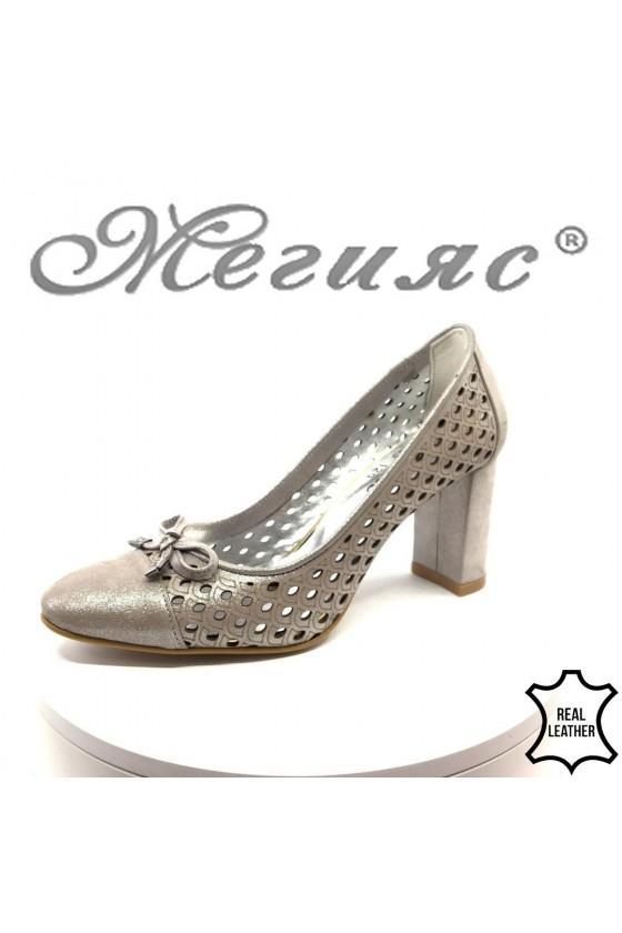 Дамски обувки 235 на широк ток от естествена кожа