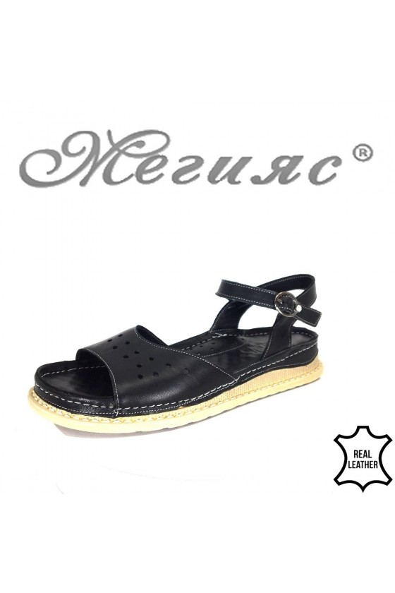 Дамски сандали XXL 100-5 черни гигант от естествена кожа