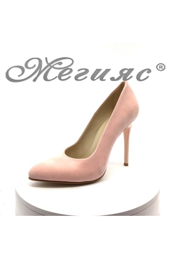 Lady elegant shoes 162 pink suede with high heel