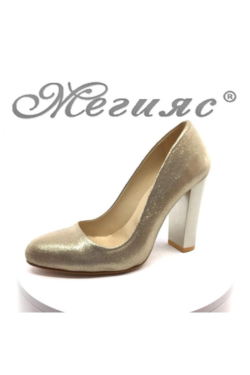Дамски обувки 706 златисти текстил елегантни с широк ток от еко кожа