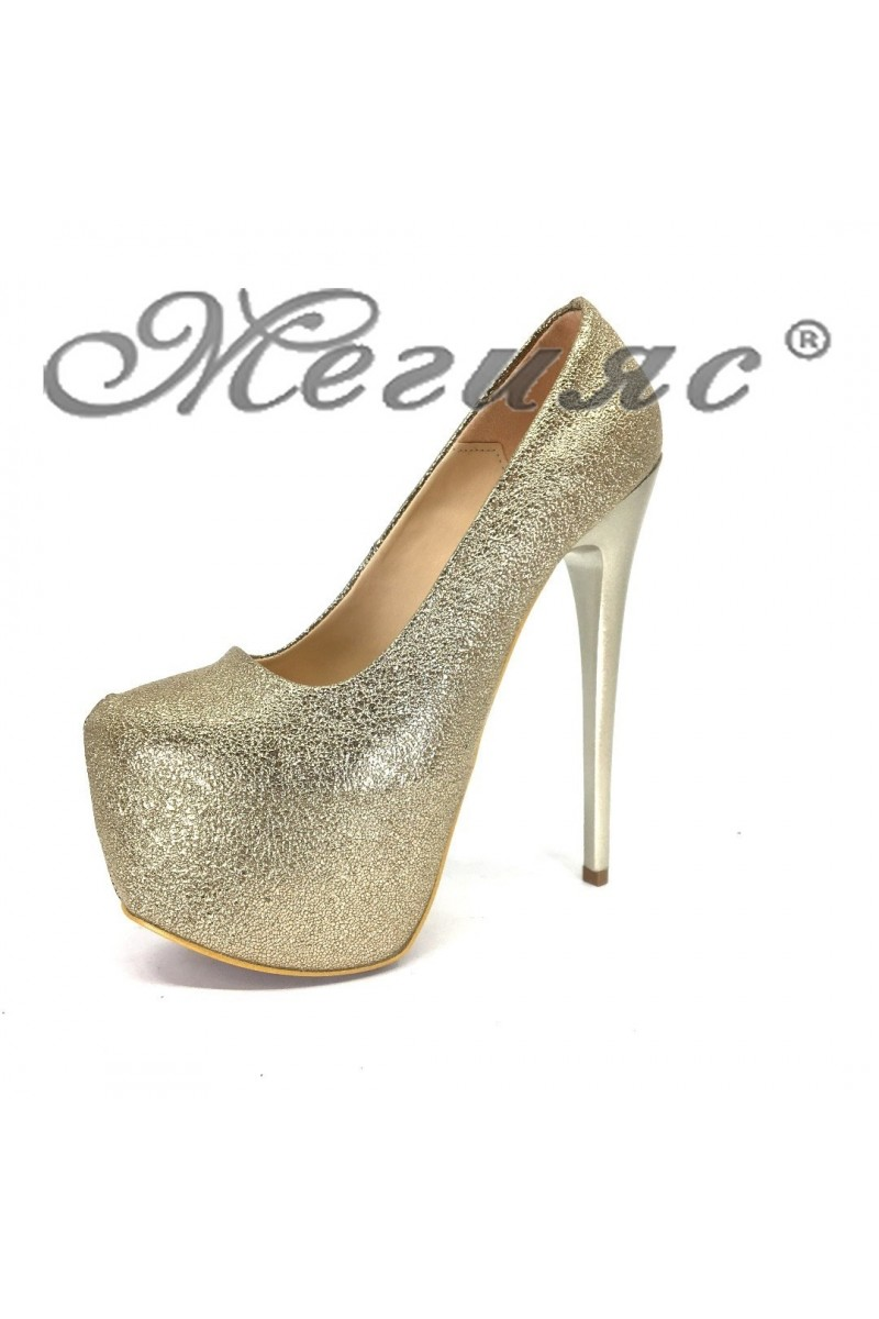 Дамски обувки 50-елегантни златисти на висок ток