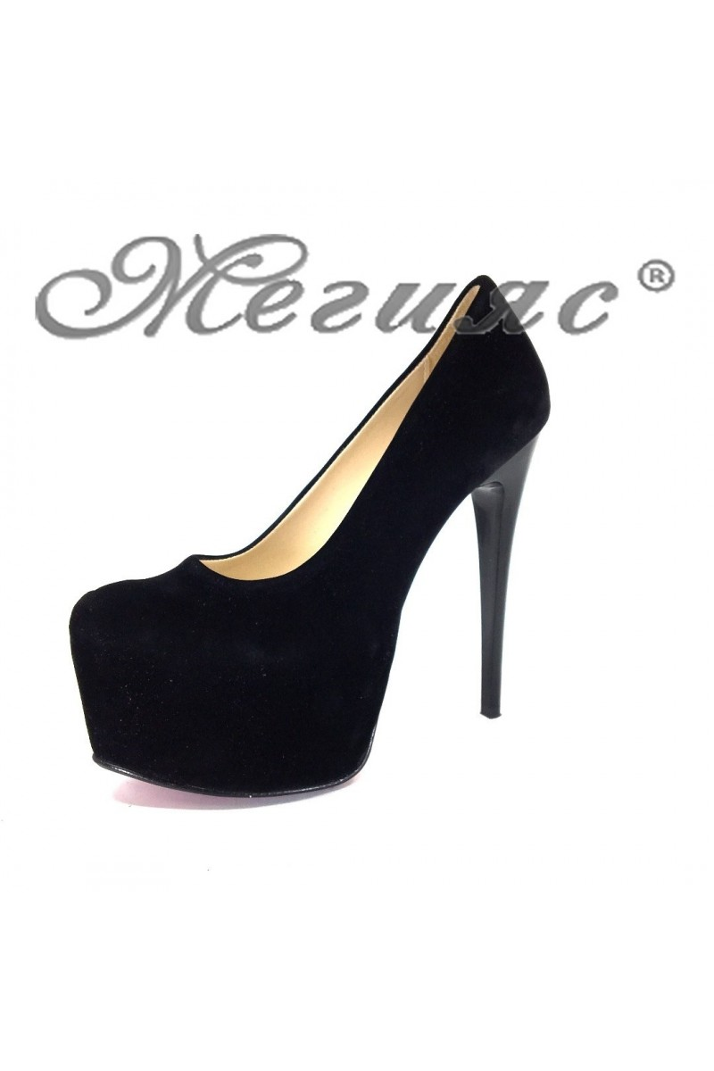 Дамски обувки 50-елегантни набук черни на висок ток