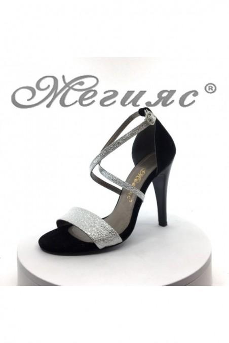 Дамски сандали 107-1 черни със сребристо елегантни на висок ток