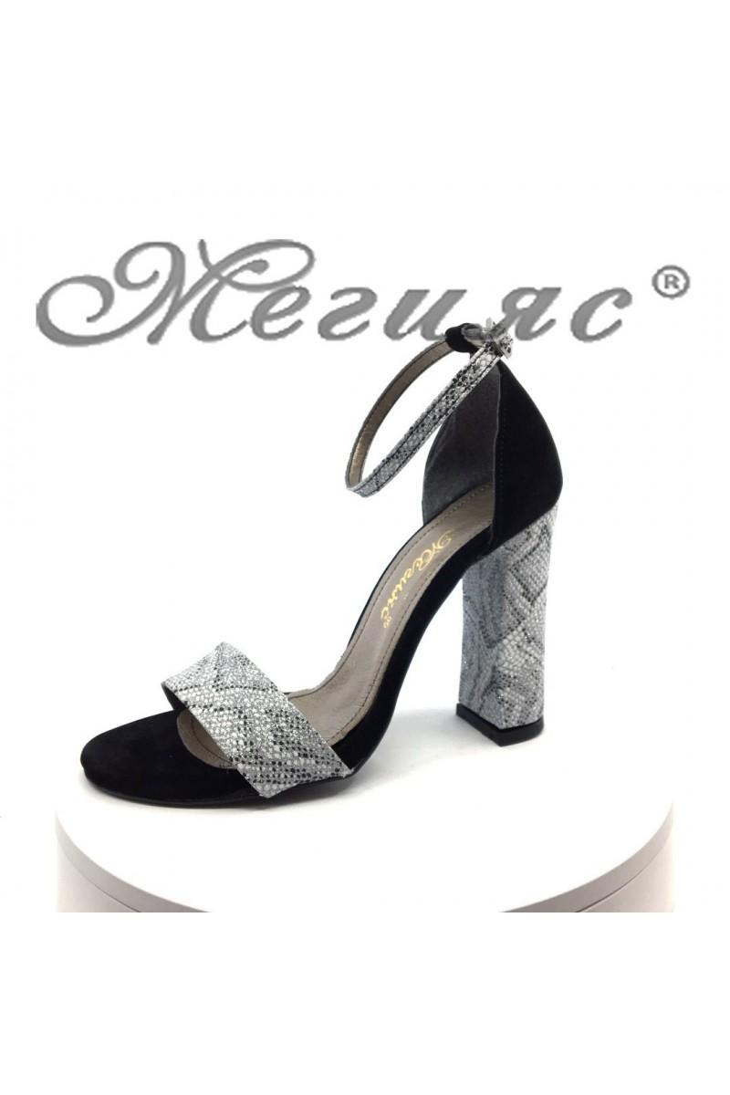 Дамски сандали 577 черни със лента змийска шарка елегантни на висок ток