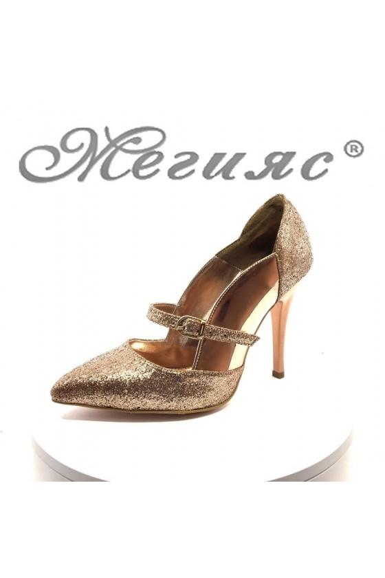 Дамски обувки 1478 бакър лак и брокат елегантни на висок ток