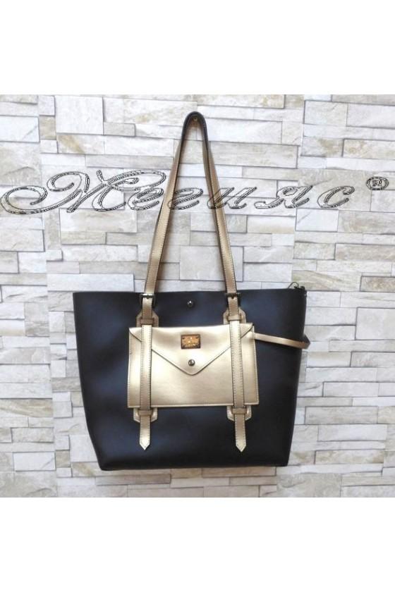 Дамска чанта 4382 черно с бакър еко кожа