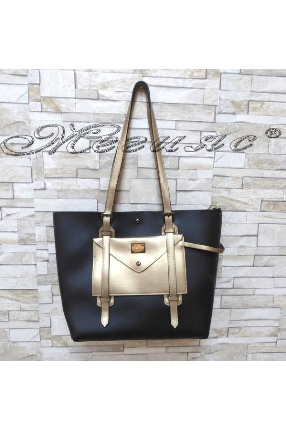 Lady bag 4382 black/dk.gold PU