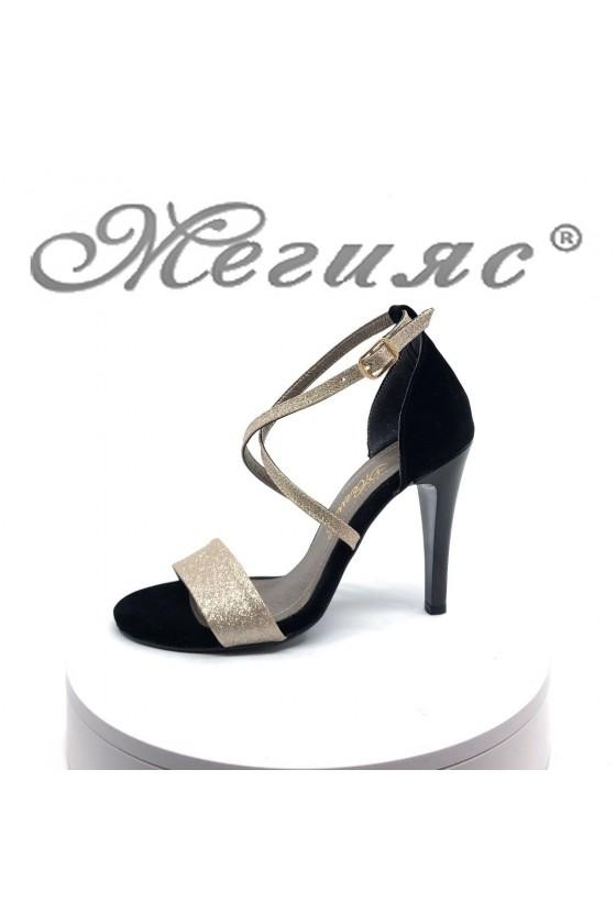 Дамски сандали 107-1 черни със златисто елегантни на висок ток