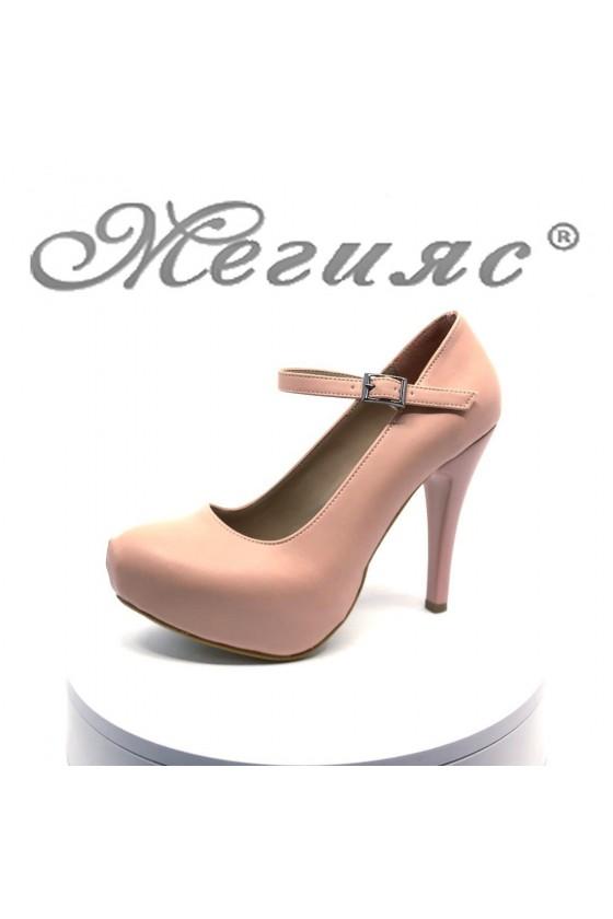 Дамски обувки 520-ато мат пудра от  еко кожа с висок ток елегантни