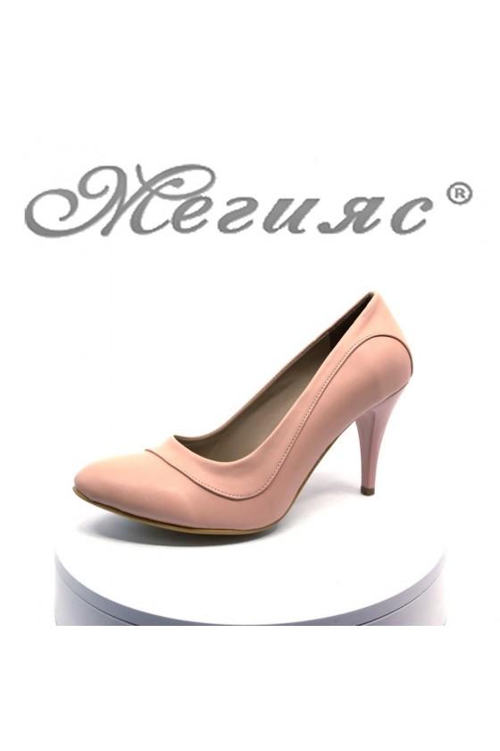 Дамски обувки А-027 пудра мат от еко кожа елегантни на среден ток