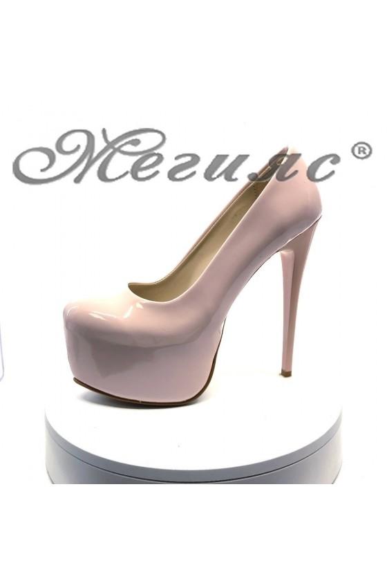 Дамски обувки 50-елегантни пудра лак висок ток