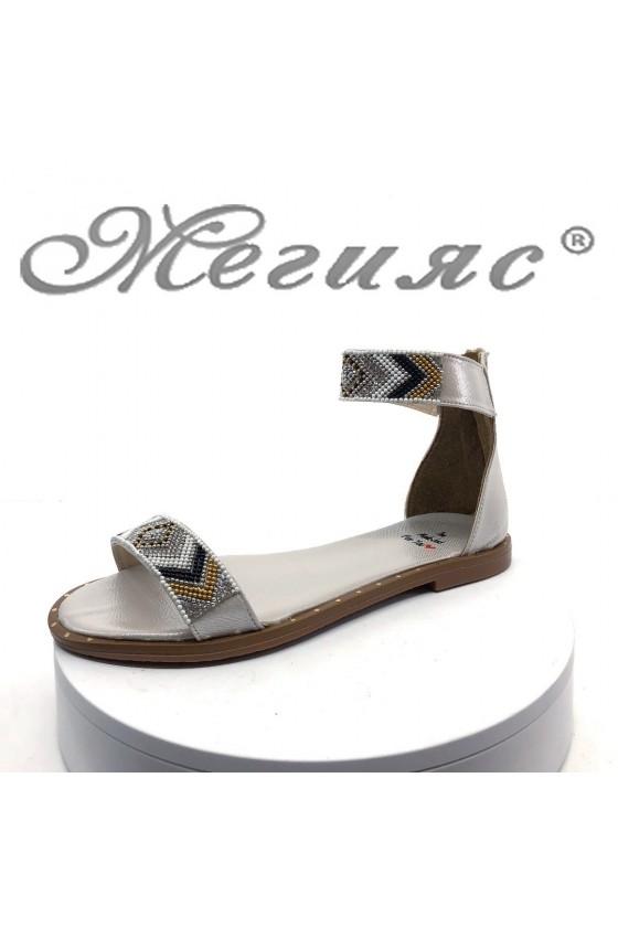 Дамски сандали Х-172 сребристи равни от еко кожа