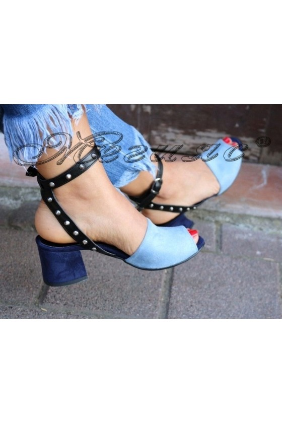 Дамска сандали 555/3216 сини от еко велур на широк ток