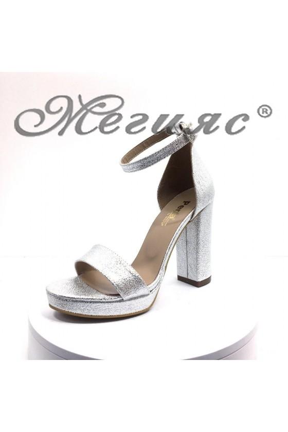 Дамски елегантни сандали 398 сребристи на висок ток