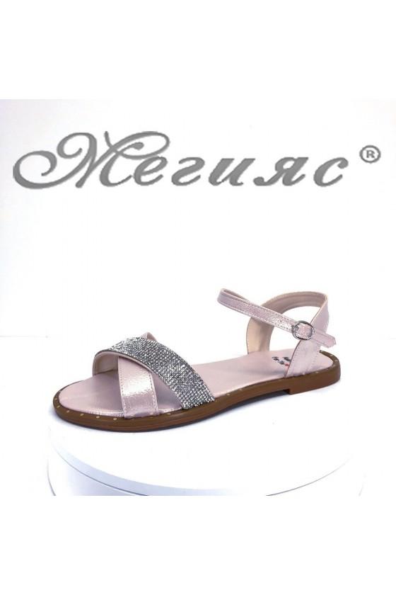 Дамски сандали Х-168 пудра равни от еко кожа