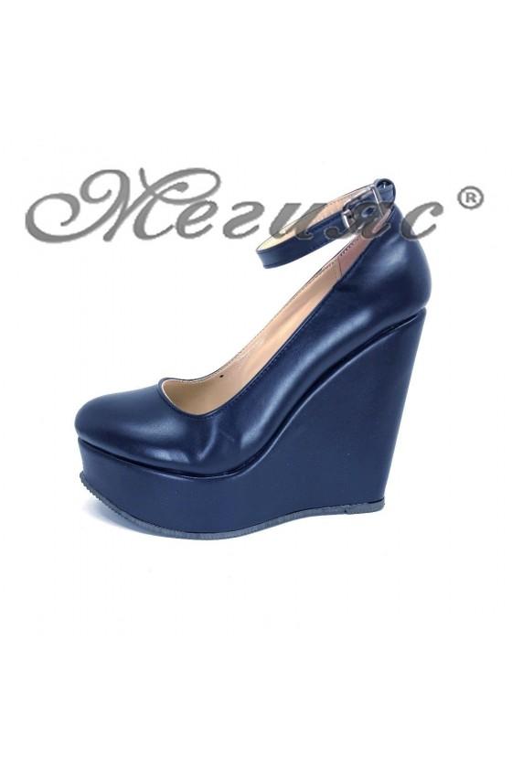 Дамски обувки 046-К тъмно сини мат от еко кожа на висока платформа