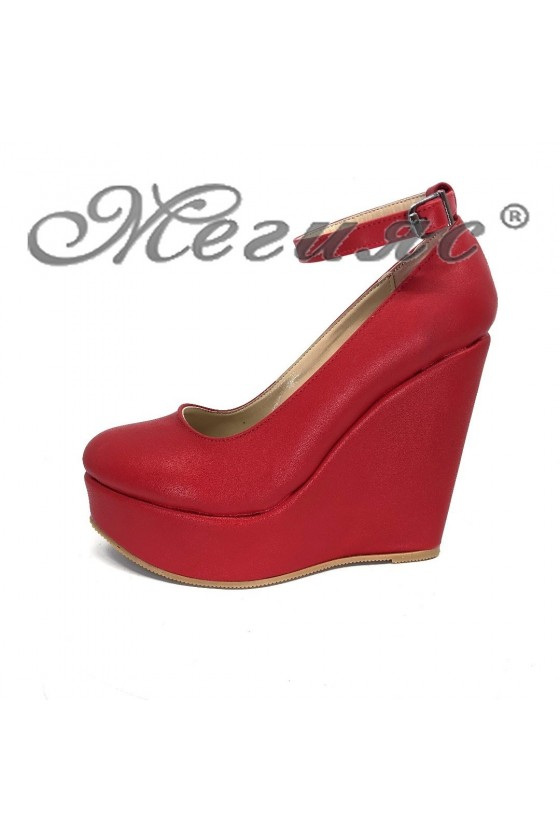 Дамски обувки 046-К червени мат от еко кожа на висока платформа